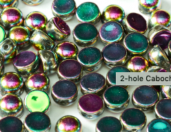 25 Stk. 2-Hole Cabochon 6mm ,   Fb. Crystal Vitrail Green Full